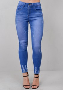 Ripped Skinny Fit Fringe Hem Denim Jeans Bright Blue