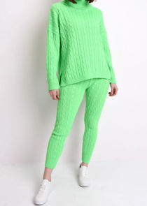 Roll Neck Cable Knit Loungewear Set Neon Green