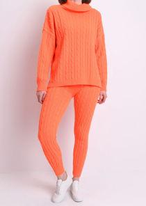 Roll Neck Cable Knit Loungewear Set Neon Orange