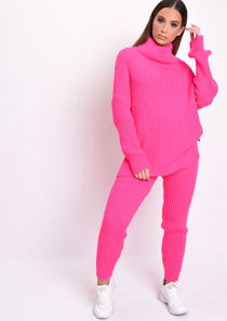 Roll Neck Cable Knit Loungewear Set Neon Pink