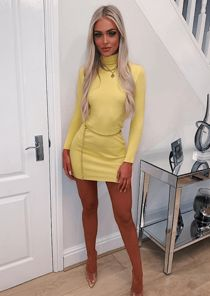 Roll Neck Ribbed Knit Jumper Dress Neon Yellow