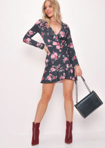 Rose Print Polka Dot Wrap Over Frill Dress Black