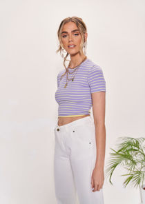 Round Neck Striped Patterned Tie Back T Shirt Crop Top Purple