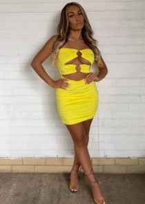 Double Ring Front Cut Out Ruched Mini Bodycon Dress Yellow