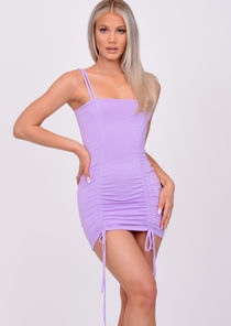 Ruched Drawstring Bodycon Mini Dress Purple