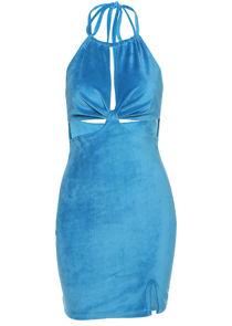 Ruched Halterneck Side Split Cut Out Velvet Mini Dress Blue