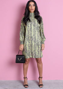 Ruched High Neck Snakeskin Print Long Sleeve Smock Dress Neon Green
