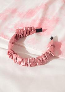 Ruched Satin Headband Pink