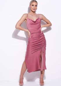 Ruched Side Splits Cowl Neck Maxi Dress Pink