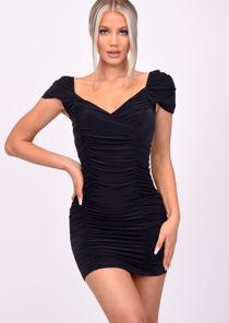 Ruched Wrap Bodycon Mini Dress Black
