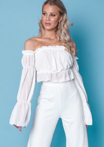 Ruffle Square Neck Cropped Blouse Top White