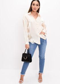Satin Button Front Shirt Cream