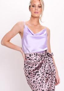 Satin Cowl Neck Top Lilac Purple