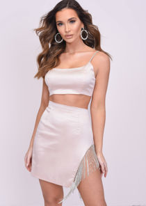 Satin Diamante Cut Out Tassel Co-ord Set Pink
