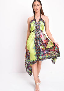 Satin Floral Halterneck Dip Hem Dress Lime Green
