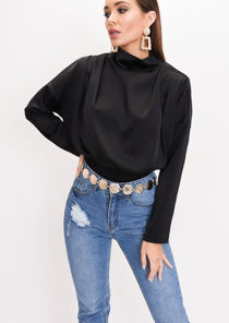 Satin High Neck Crop Blouse Black