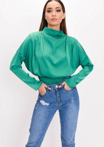 Satin High Neck Crop Blouse Green