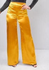 Satin High Shine High Waisted Wide Leg Trousers Gold