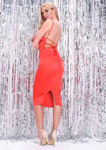 Satin Lace Up Back Slip Midi Dress Red