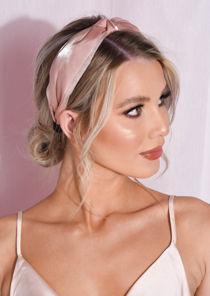 Satin Twist Knot Headband Nude Beige