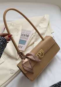 Satin Wrap Accessorised Pu Locket Envelope Bag Beige