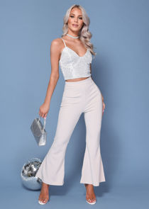 Sequin Cup Detail Strappy Crop Top Sliver