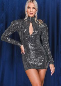 Sequin High Neck Long Puff Sleeve Mini Dress Black