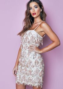 Sequin Lined Spaghetti Straps Mini Dress Pale Pink