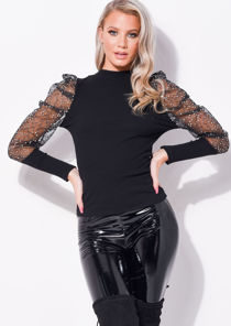 Sequin Organza Mesh Puff Long Sleeve Top black