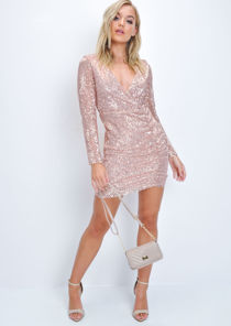 Sequin Plunge Wrap Front Ruched Mini Dress Gold