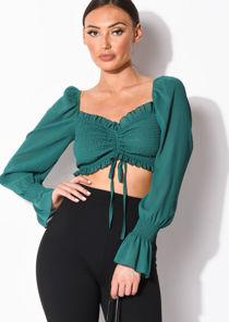 Sheer Square Neck Drawstring Shirred Crop Top Green