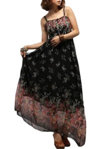 Shirred Bodice Printed Maxi Dress Black