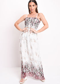 Shirred Bodice Printed Maxi Dress White