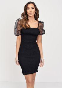 Shirred Organza Puff Sleeve Square Neck Mini Dress Black