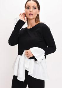 Shirt Hem Knit Jumper Black