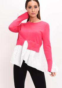 Shirt Hem Frill Cuff Knit Jumper Fuchsia Pink
