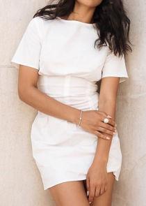 Short Sleeve Cinched Waist T Shirt Mini Dress White