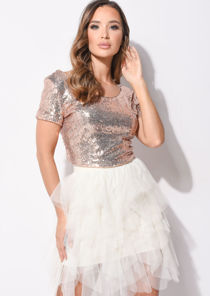 Short Sleeve Sequin Round Neck Crop Top Rose Gold