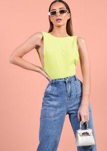 Side Boob Thong Bodysuit Neon Green