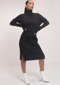 Side Split Turtle Neck Midi Jumper Dress Black