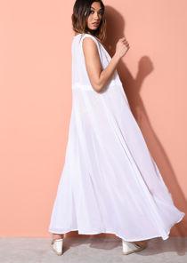 Sleeveless Cover Up Maxi Kimono White