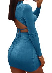 Slinky Open Back Tie Drawstring Detail Long Sleeve Mini Dress Blue