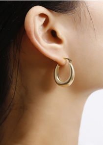 Small Chunky Hoop Earrings Gold
