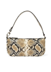 Snake Print Faux Leather Baguette Mini Shoulder Bag Brown