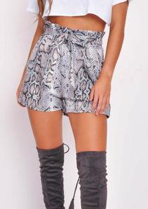 Snake Print Belt Elasticated Paper Bag Waist Shorts Multi