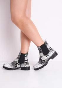 Snake Print Faux Leather Chunky Studded Chelsea Ankle Boots Grey