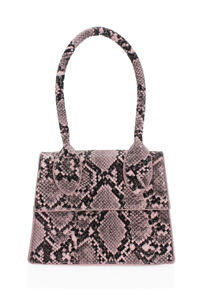 Snake Print Faux Leather Long Handle Grab Mini Bag Pink
