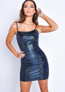 Snake Print Textured Mini Dress Blue