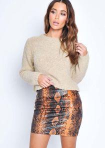 Snake Print Textured Mini Skirt Orange