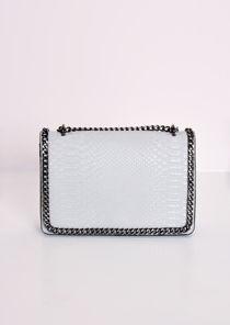 Snakeskin Effect Chain Shoulder Bag Grey